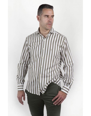 Khaki striped shirt Enrique Pellejero