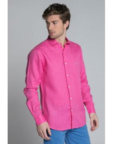 Valecuatro camisa fucsia lino