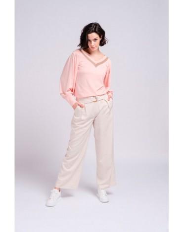 SMF pantalon ancho beige