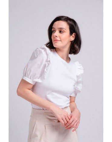 SMF white ruffle t-shirt