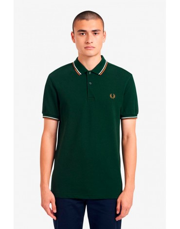 Fred Perry green polo shirt with piping M3600