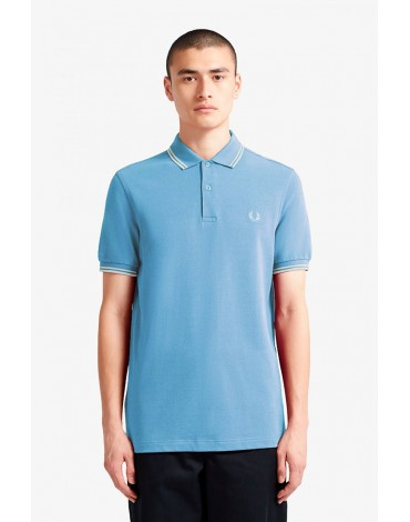 Fred Perry light blue polo shirt with white stripes