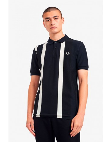 Fred Perry navy polo shirt with white stripes