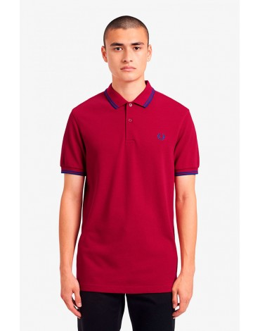 Fred Perry red grapefruit polo shirt with blue piping