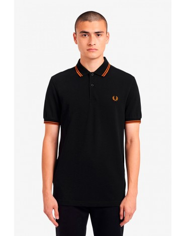 Fred Perry black polo shirt with rust stripes