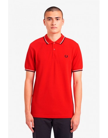 Fred Perry red polo shirt with piping