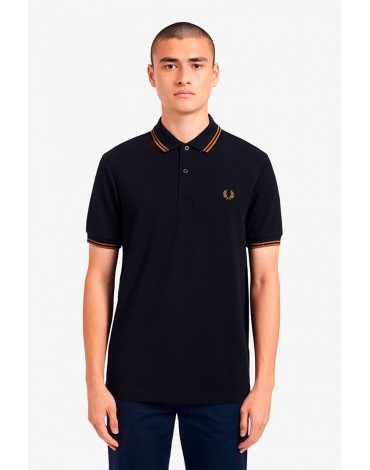 Fred Perry navy polo shirt with caramel trims man