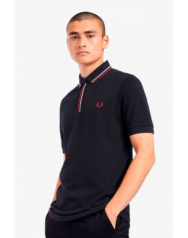Fred Perry navy blue polo shirt with placket trim