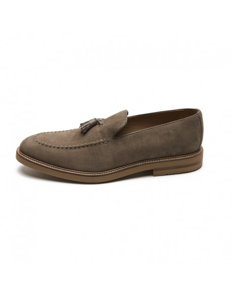 Taupe tassel moccasin shoes