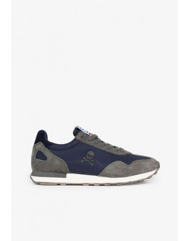 Navy blue suede leather scalpers sneakers