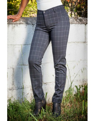 Waltron women's checked navy trousers