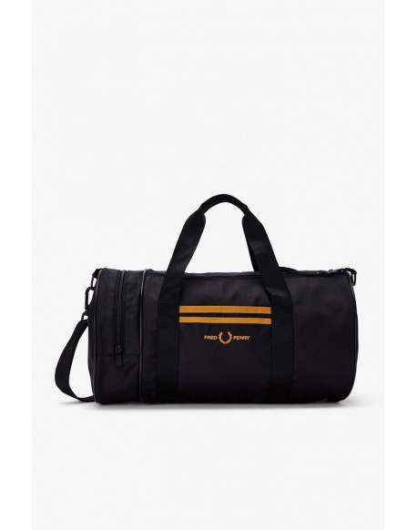 Fred Perry black sports bag with stripes