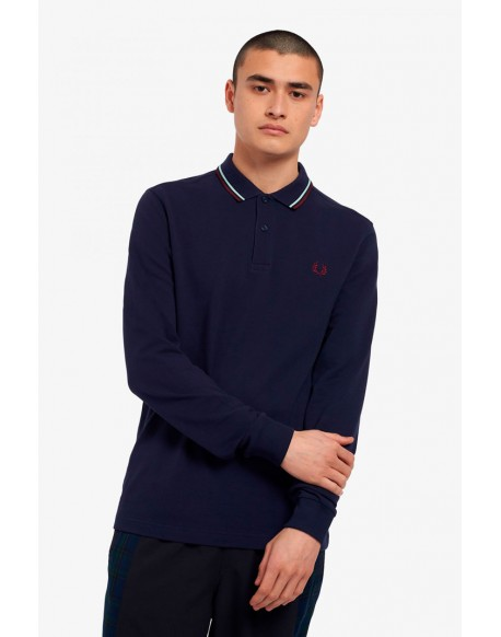 Fred Perry carbon blue long sleeve polo shirt