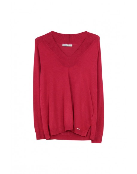 MdM maroon knitted V-neck sweater woman