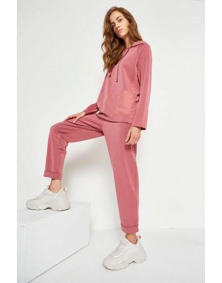 MdM pink pants for women elastic waist drawstring