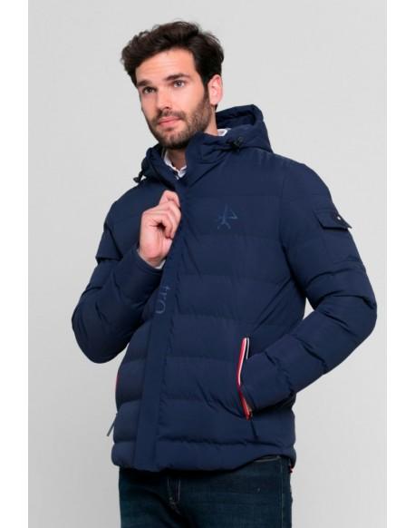 Valecuatro navy blue quilted emboss coat