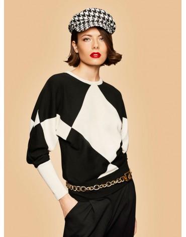 Escorpion geometric two-tone sweater