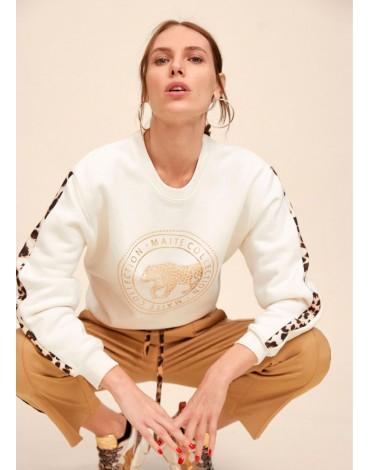 Gold logo and animal print sweatshirt