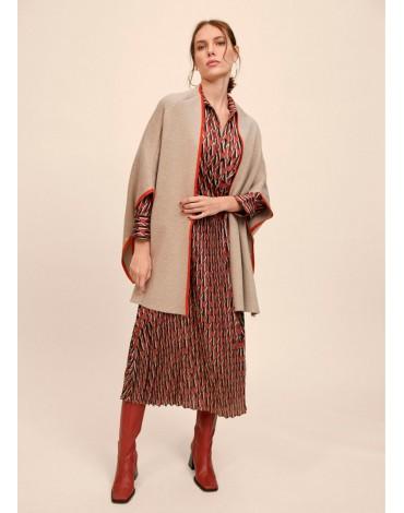 Beige knit cape