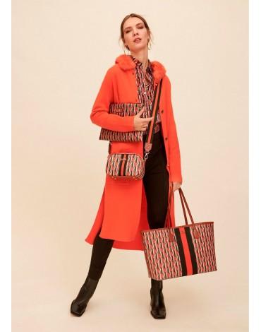 Long orange knit jacket