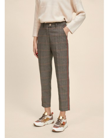 Orange detail checked trousers