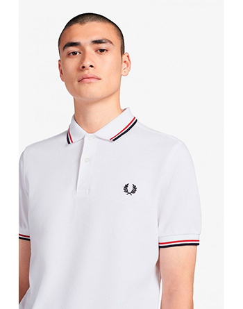 Fred Perry white polo shirt with red and navy blue stripes
