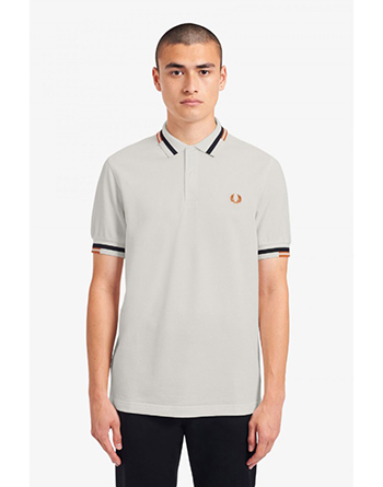 Fred Perry abstract snow white polo shirt