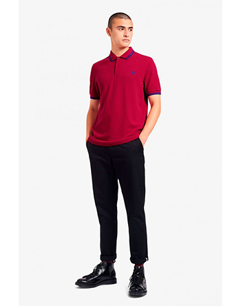 Fred Perry blue striped grapefruit polo shirt