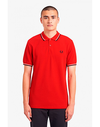Fred Perry red polo shirt with ecru and navy stripes