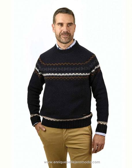 Pertegaz jacquard naby blue sweater